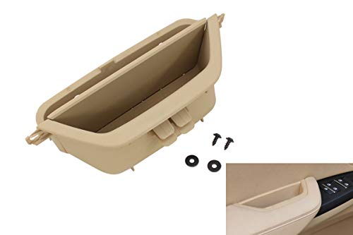 XtremeAmazing Beige Front Left Driver Side Door Inner Interior Handle Pull Trim Armrest Storage Box Compartment Armrest Container Phone Key Holder for BMW X3 X4