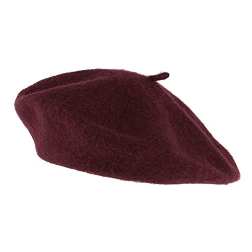 French Hat Small Purple - Hat To Socks Wool Blend French Beret for Men and Women in Plain Colours (Burgundy)