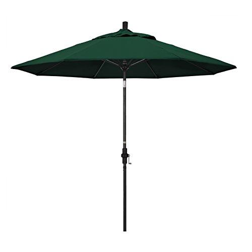 California Umbrella 9' Round Aluminum Pole Fiberglass Rib Market Umbrella, Crank Lift, Collar Tilt, Black Pole, Sunbrella Forest Green