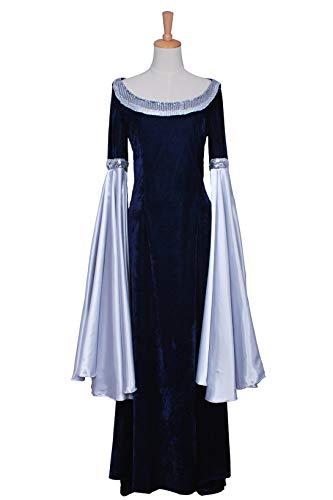 The Lord of The Rings Cosplay Costume Arwen Blue Dress Velvet Trumpet Sleeves M
