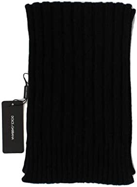 Dolce /& Gabbana Black Cashmere Knitted Scarf