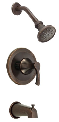 Danze D500022BRT Antioch Single Handle Tub and Shower Trim Kit with 3 1/2-Inch Showerhead, Tumbled Bronze