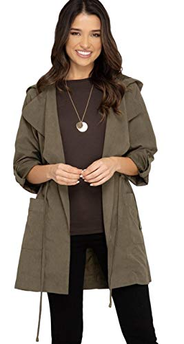 She + Sky Women's Lightweight Hooded Trench Coat or Windbreaker with Tie Waist (Small, Olive)