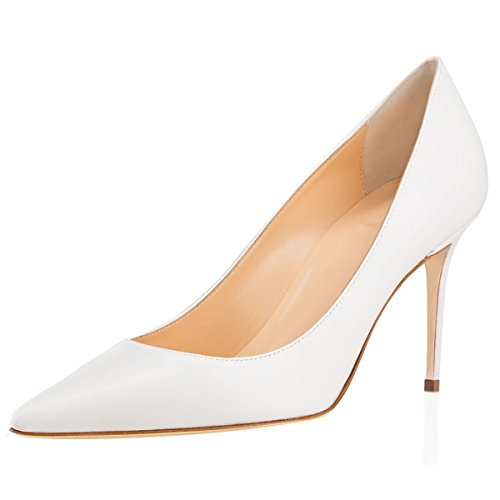 De Cerrado Boda Elashe Clásicas Cm Tacón Altos Wedding Zapatos Mujer Blanco 8 Tacones TFwF5v