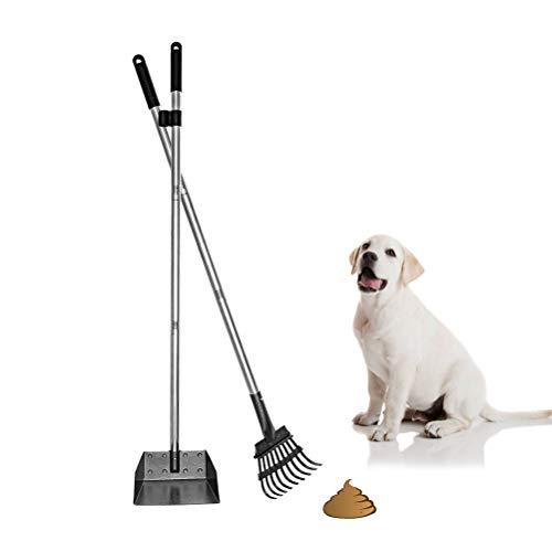Mihachi Pet Poop Tray and Rake Set - Long Handle Pooper Scooper - 37.4' Pet Waste Removal Bin & Rake...