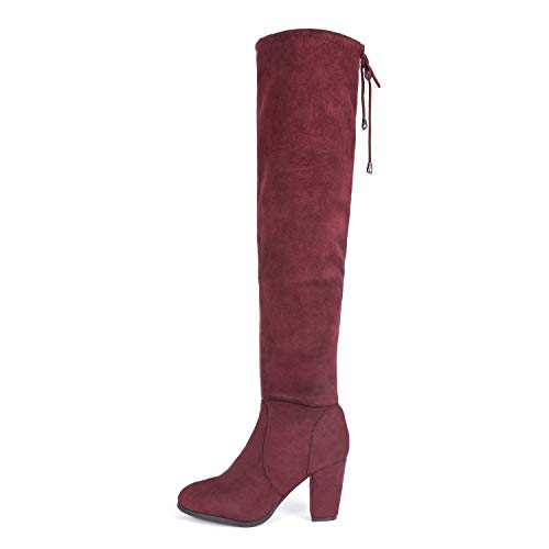 DREAM PAIRS HIGHLEG Women's Thigh High Fashion Over The Knee Drawstring Strech Block Mid Heel Boots Burgundy-SZ-9