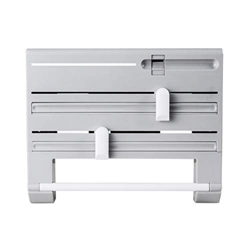 (Yardwe 6 in 1 Multi-Function Kitchen Storage Rack Tin Foil Plastic Wrapper Storage Rack Paper Towel Garbage Bag Rack (Gray))