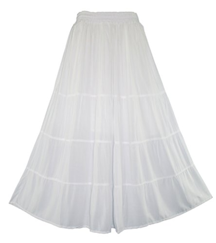 Beautybatik White Boho Gypsy Long Maxi Tiered Skirt 3X (Tier 3 Skirt)