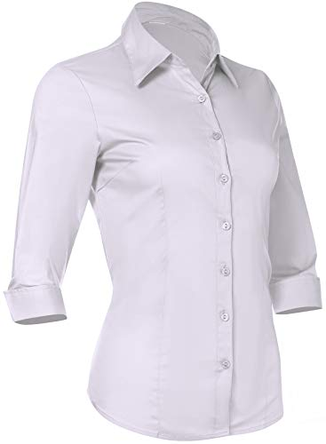 (Pier 17 Women's Button Down Shirts Tailored 3/4 Sleeve Shirt, Stretchy Material (XL, White))