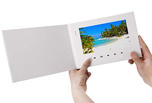LuguLake 7 Video Greeting Card,Video Brochure for Fathers Day, Anniversary, Marketing Include 2G Memory and Rechargeable Battery LCD Screen Digital Brochures Photo Frame