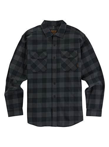 Burton Men's Brighton Flannel Down Shirt, True Black Heather Buffalo Plaid SS19, Large