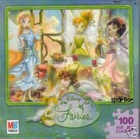 Disney Fairies 100 Piece Jigsaw Puzzle - Tinker Bell & Friends Tea Party by Milton Bradley