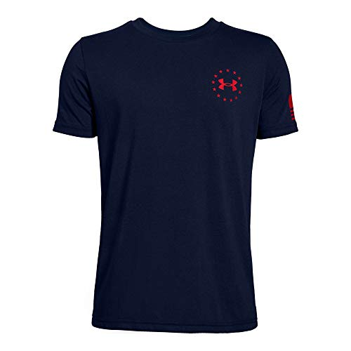 Freedom Womens Cut T-shirt - Under Armour Boys' Freedom Flag T-Shirt, Academy (408)/Red, Youth X-Large