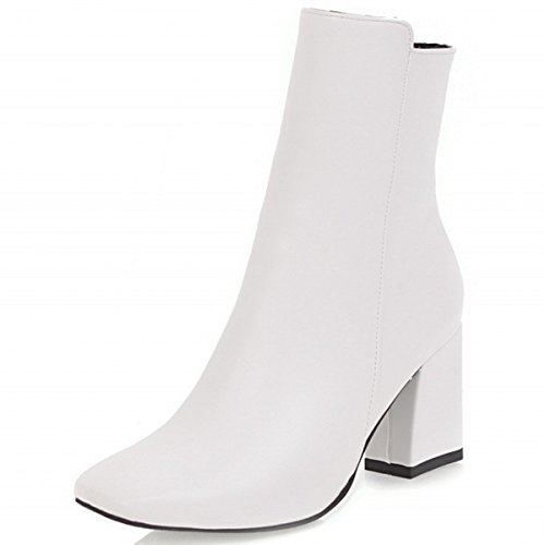 Rongzhi Womens Ankle Boots Chunky Block Heels Side Zip Classic Simple Party Booties Square Toe White