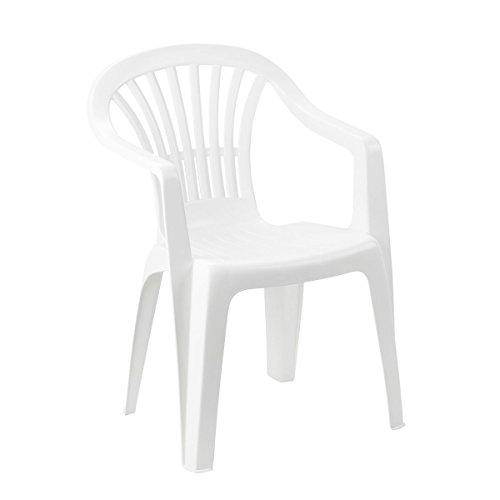 "greemotion Stacking Chair ""Altea"" - Plastic Garden Chair - Monoblock Chair with Armrest for Garden, Terrace & Balcony, White"