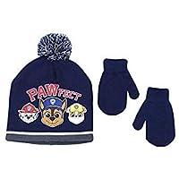 Elegant Headwear Toddler Boy Beanie Hat With Mittens Winter Accessory Set, Paw Patrol Navy