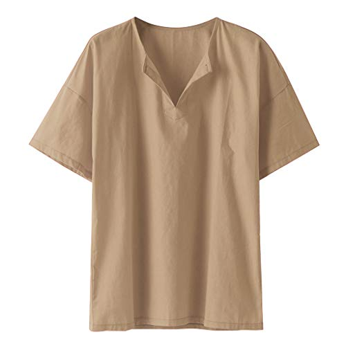 iHPH7 Shirts Top Blouse Regular-Fit Short-Sleeve Casual Shirt Sunmer Fashion Solid Casual Comfortable Beach Men (XL,1- Khaki)