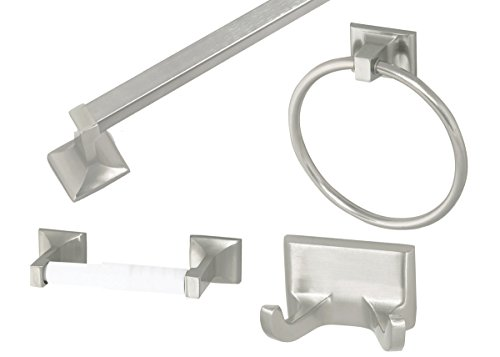 - Design House 534644 Millbridge 4-Piece Bathroom Kit, Satin Nickel Finish