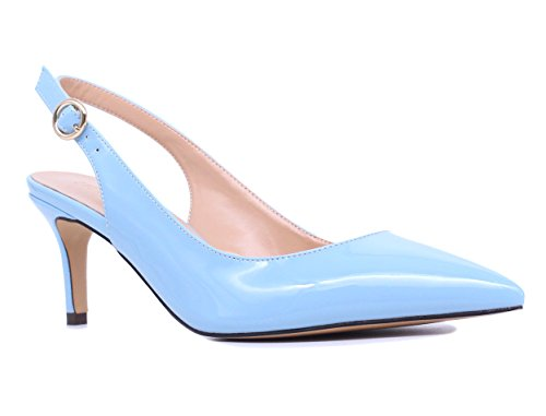 - SUNETEDANCE Women's Slingback Pumps Pointed Toe Kitten Heels Sandals Slip On Stiletto Mid Heels Shoes, Patent Leather Blue, US8.5 B(M) US