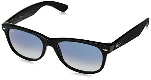 Ray-Ban Men's RB2132 62423F New Wayfarer With Alcantara Non-Polarized Sunglasses, Black/Light Blue Gradient, 55 - Ban Blue Gradient Ray