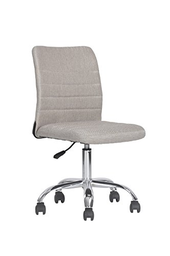 Leisure Office Chair Executive Fabric Swivel Task Computer Desk Chair Armless for Home Office Studio, Grey by FurnitureR