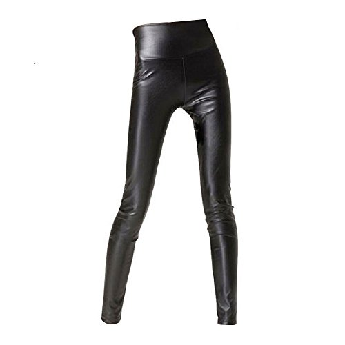Sexy Faux Leather High Waisted Leggings (M  (US 8-10), matt (Sandy Halloween Costume)