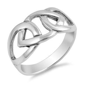 Cute Jewelry Gift for Women in Gift Box Celtic /& Heart Glitzs Jewels 925 Sterling Silver Ring