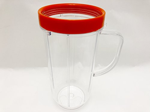 Berucci 22oz On The Go Mugs Cups with Ring and Handle For the 250 Watt Magic Bullet Blender -- 6 3/4 Inch Tall - NOT FOR THE NUTRI BULLET