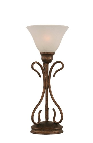 Shade Glass Marble (Toltec Lighting 31-BRZ-505 Swan One-Light Table Lamp Bronze Finish with White Marble Glass Shade, 7-Inch)
