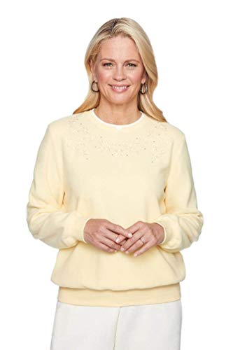 Alfred Dunner Women's Fall Classics 2018 Floral Embroidered Solid Anti-Pill Pullover (X-Large, Soft Yellow)