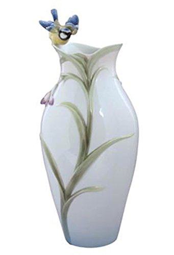 (13.25 Inch Porcelain Vase with Orchid Bloom and Blue Titmouse)