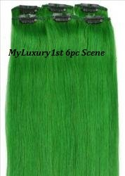 My Scene 6 Piece Clip in Hair Extensions Green Clip-on Hairstyle Streaks