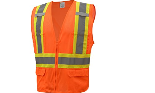 CJ Safety CJHVSV2003 ANSI Class 2 High Visibility Two Tone Safety Vest Wicking Breathable Mesh (3XL, -