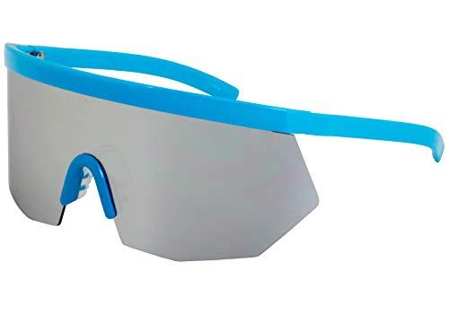 Flawless Eyewear Oversized Super Shield Rainbow Mirrored Lens Semi Rimless Style Retro Flat Top Sunglasses (Blue Mirror), X ()