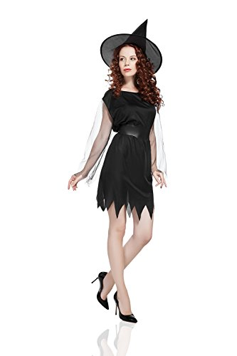 Adult Women Witch Costume Evil Enchantress Halloween Cosplay Role Play Dress Up (Small/Medium, (Female Dress Up Costumes)