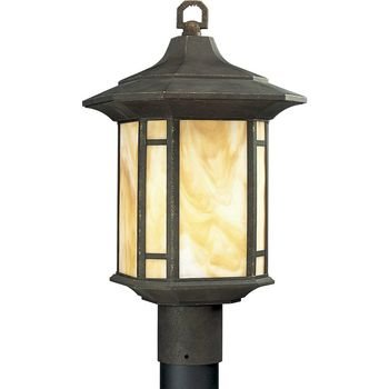 Progress Lighting P5428-46 1-Light Post Lantern with Honey Art Glass and Mica Accent Panels, Weathered Bronze