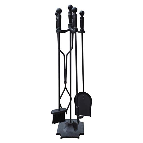 ART TO REAL Black Wrought Iron Fireplace Tool Set with Pyramid Base, Rustic Fireset Firepit Tool Set with Poker Wood Stove Log Tongs Holder Tool Kit Sets, Fireplace Tool Stand Firepit Acessories