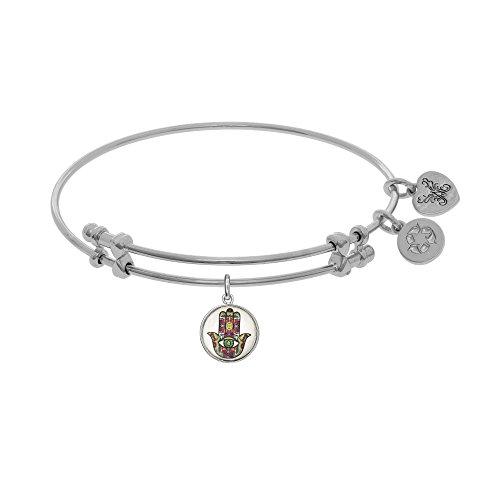"Angelica White Rhodium Over Brass Tattoo Hamsa Charm Expandable Bangle Bracelet 7.25"" -  JewelStop"