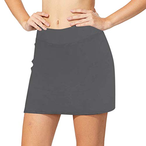 Mysky Women's Casual Solid Color Active Skorts Performance Skirt Running Tennis Golf Workout Sports ()