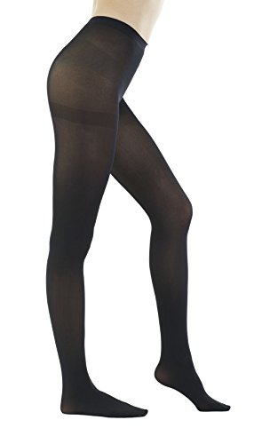 STYLEGAGA Women's 80 Denier Semi Opaque Solid Color Footed Pantyhose Tights 2Pair or 6Pair (M/L, Black) 120 Denier Tights