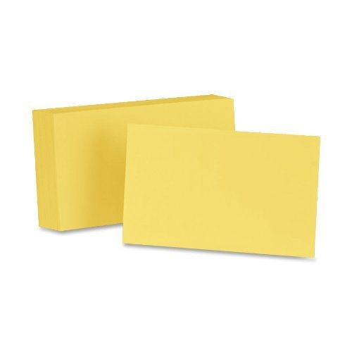 Oxford Blank Color Index Cards, 5'' x 8'', Canary, 100 Per Pack  (7520 CAN) by Oxford