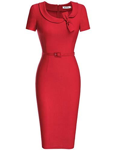 MUXXN Women's Bow Neckline 1/3 Sleeve High Waist Junior Bodycon Dress (XL Red) (1940s Bow)