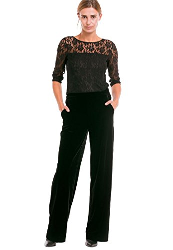 Pants Velvet Jeans (Ellos Women's Plus Size Stretch Velvet Wide Pants - Black, 22)