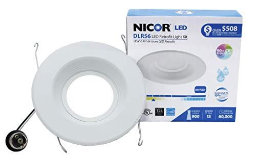 NICOR Lighting 5/6-Inch Dimmable 800-Lumen 3000K LED Downlight Retrofit Kit for Recessed Housings, White Baffle Trim (DLR56-3008-3K-WH-BF)