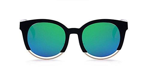 Soleil Femmes et Inspirées Hommes Métallique Cercle Vert Pour en Bleu Lunettes du Steampunk et de Style Retro Rond Polarisées pBRqRw