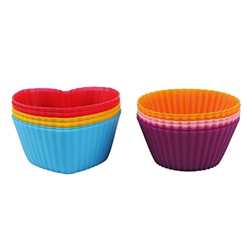 NaisiCore Silicone Cupcake Liners,Heart Shape Silicone Muffin Cases Reusable Baking Cups Bake Mold Chocolate Mold Ice Mold 6Pcs