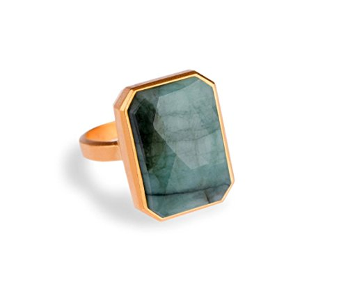 Ringly Into the Woods - Emerald Size 7 - 18k Plated Ring - Connects With iPhones 5 and Newer, Android Devices Running Android 4.3 and above