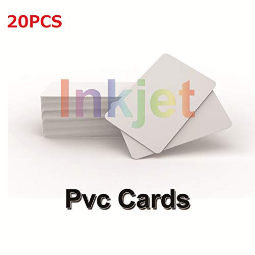 Inkjet Printable PVC ID Cards Compatible Epson and Canon Inkjet Printers, CR80( 30 MIL), Can Print on Both Sides (20pcs)-TimesKey ()
