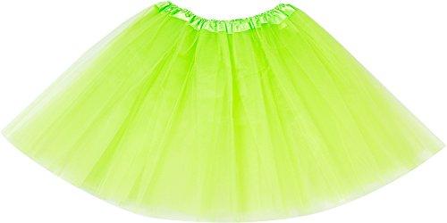 Women's Tulle Tutu Skirt 3-Layered Classic Elastic Ballet Dance Skirts Petticoats-T F Green