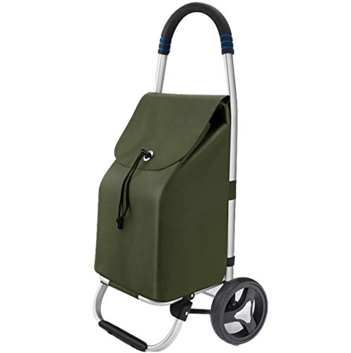 FOTEE Grocery Utility Shopping Cart, Folding Hand Cart Lightweight with Rolling Swivel Wheels Hand Cart Canvas Grocery Cart 30L Capacity,Dark Green_90x40x28cm